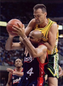 FILE PHOTO OF BRAZILIAN BASKETBALL STAR OSCAR SCHMIDT IN ACTION AGAINST USA