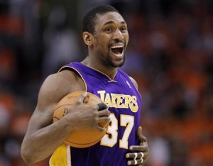 Los Angeles Lakers forward Ron Artest reacts in the first half against the Phoenix Suns during Game 6 of the NBA Western Conference finals in Phoenix