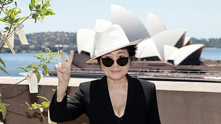 Yoko Ono at her exhibition at the Museum of Contemporary Art