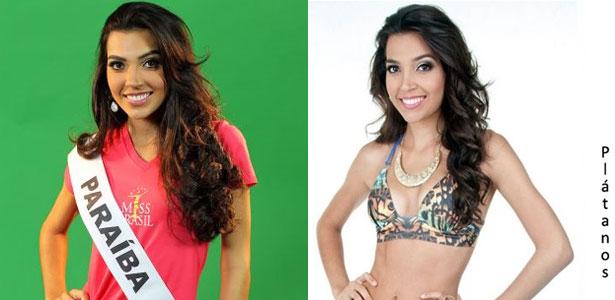 A miss Priscilla Durand em dois momentos: No Miss Brasil Universo 2011 (à esq.) e como candidata do Miss Alagoas World 2013 (à dir.)