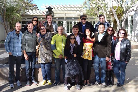 Parte dos integrantes do Sebrae Media Experience (e eu) aos pés de Yoda, na Lucasfilm, San Francisco