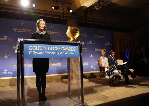 Olivia Wilde anuncia os indicados ao Globo de Ouro 2014, hoje de manhã.