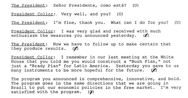 Transcrição do telefonema entre Bush e Collor/Reprodução