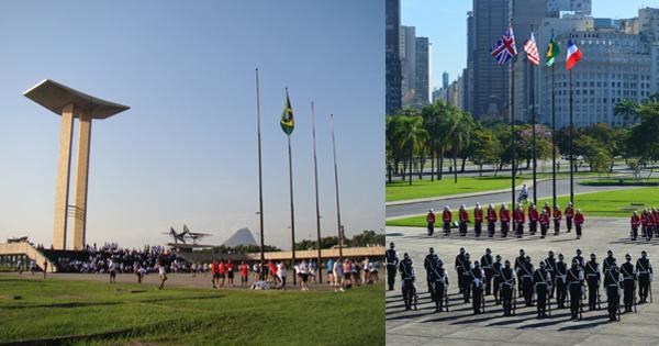 Monumento em dia comum (à esq.) e nas datas festivas, com bandeiras de Inglaterra, EUA, Brasil e França. Crédito: Divulgação/Exército brasileiro