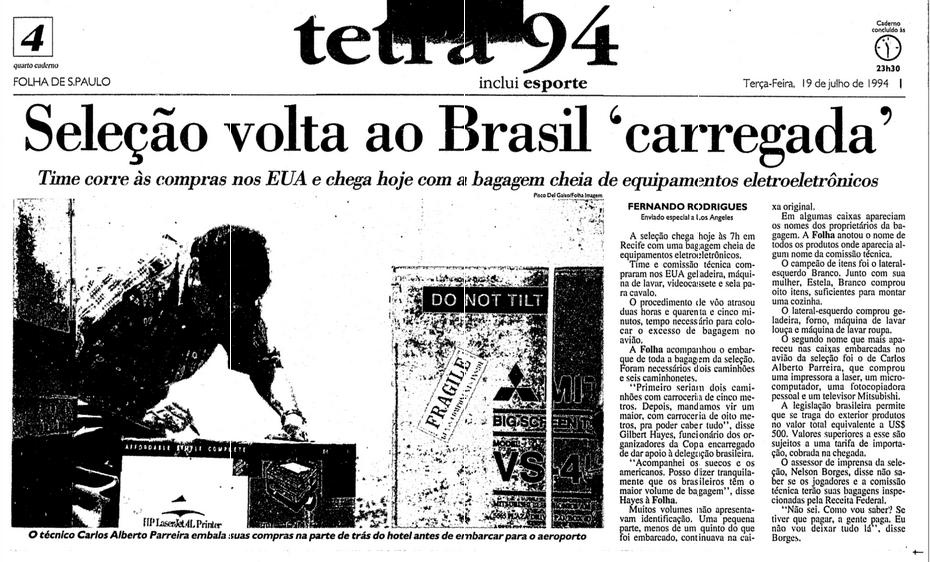 reportagem que mostrou com exclusividade a bagagem da seleção, em 19.jul.1994