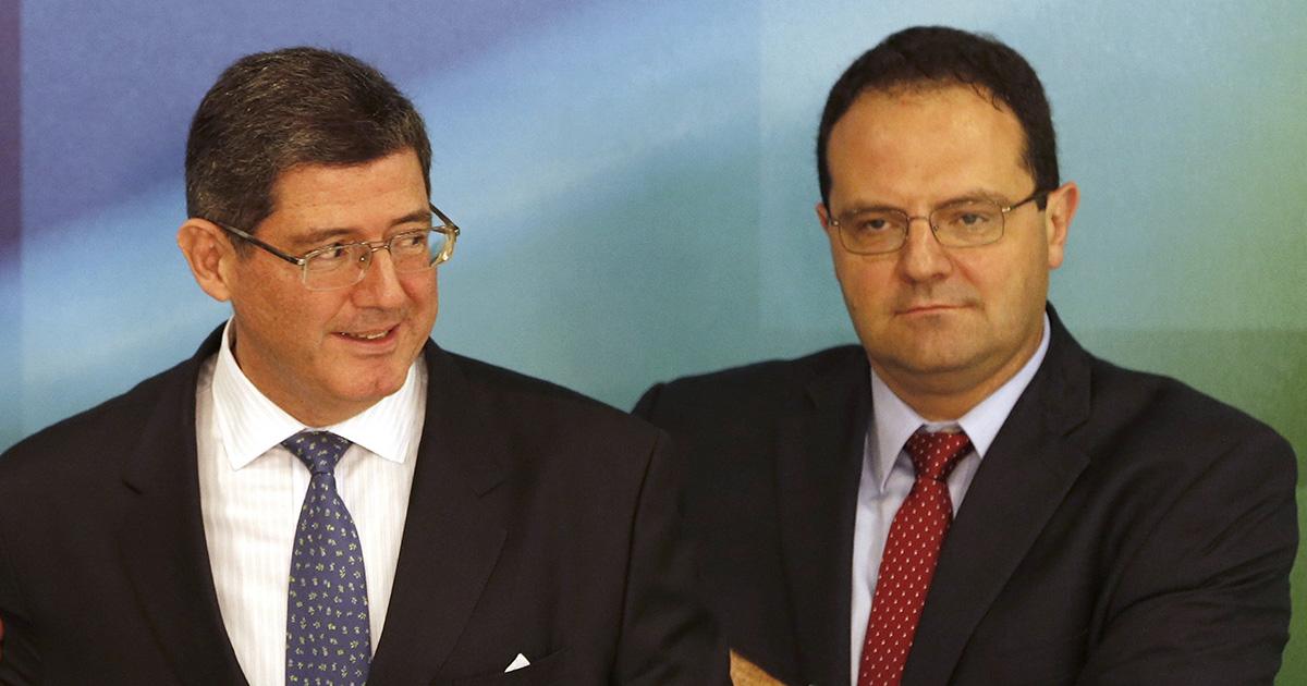 Levy e Barbosa no dia em que foram anunciados ministros, em novembro de 2014
