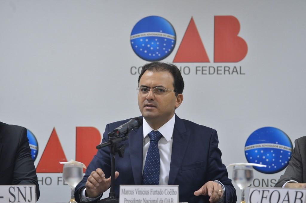 O presidente da OAB, MarcusVinicius Furtado Coêlho, participa de audiência pública para agilizar processos e procedimentos administrativos na prática de ilícitos contra o patrimônio público(Antônio Cruz/Agência Brasil)