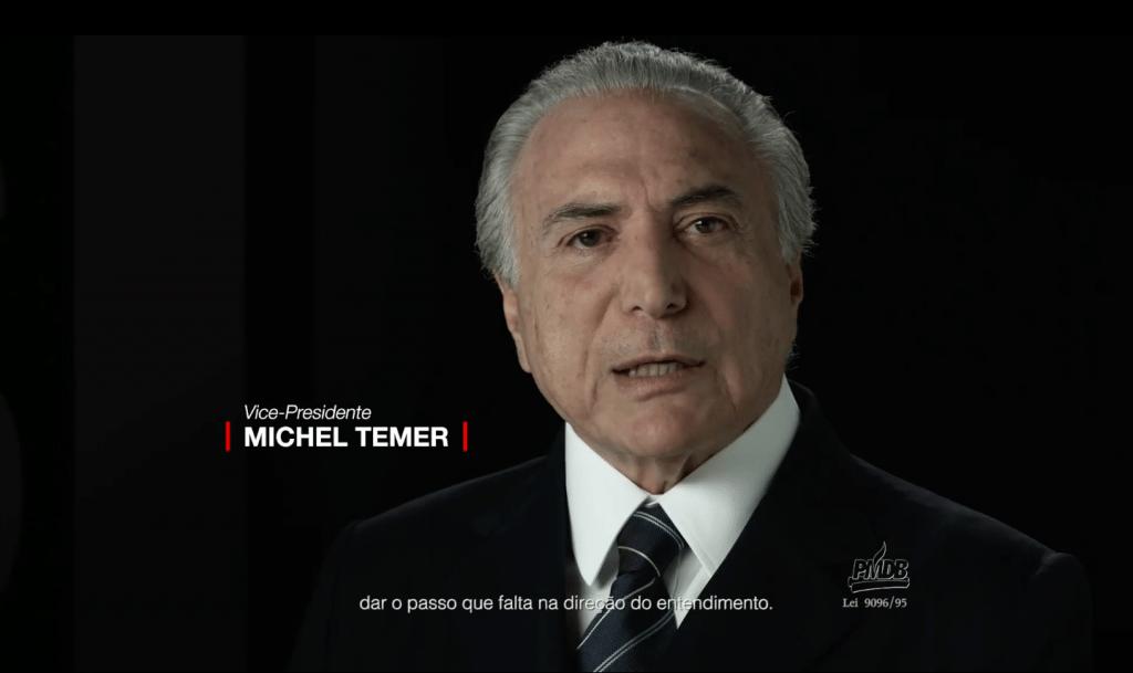 Michel Temer durante a propaganda partidária do PMDB de 25.fev.2016