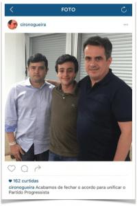 Ciro Nogueira (dir.) e Eduardo da Fonte (esq.) após fechar acordo na madrugada de domingo (17.abr)