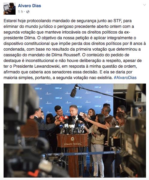 Senador Álvaro Dias (PV-PR) diz que vai ao STF contra direitos políticos de Dilma