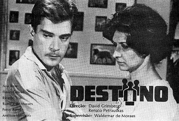 Ricardo Blat e Ana Rosa em anúncio da primeira novela do SBT: