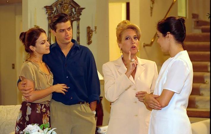 """Gabriela Duarte, Fabio Assunção, Susana Vieira e Claudia Mauro em """"Por Amor"""" (Foto: divulgação/TV Globo)"""