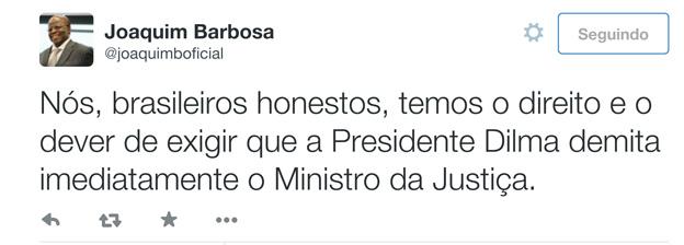 Joaquim Barbosa no Twitter: