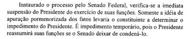 Trecho do livro de Temer que atribui ao Senado a suspensão de presidentes