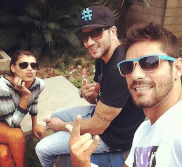 Diego, Júnior e Fran também se mostraram à vontade durante o intervalo do último compromisso com o BBB (Foto: Reprodução/Instagram)