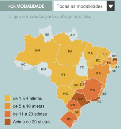 Estados brasileiros com atletas olímpicos