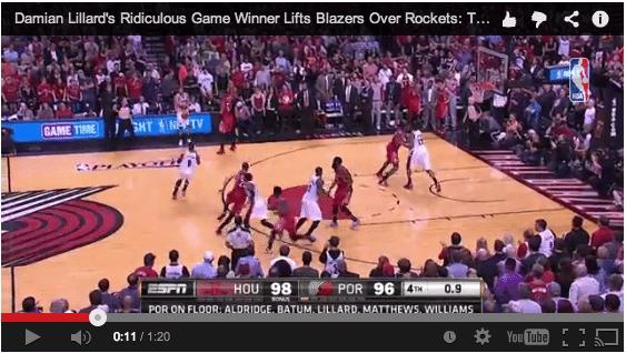 Damian Lilllard, clutch, inbound play, Game 6, Blazers, Rockets