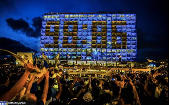 Festa em Tel Aviv: em prédio, o placar da final. Mais que basquete...