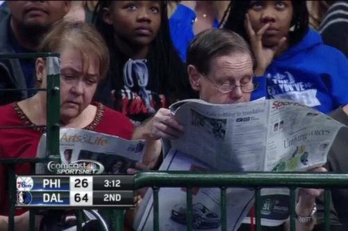 O jogo contra o Sixers foi tão interessante que a torcida do Mavs...