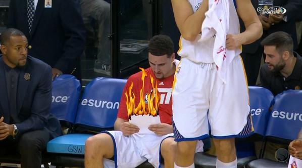 Klay Thompson põe fogo na folha de estatísticas