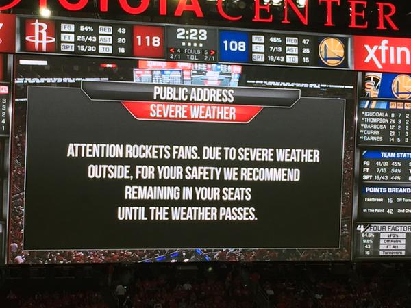Toyota Center, weather, Houston, storm