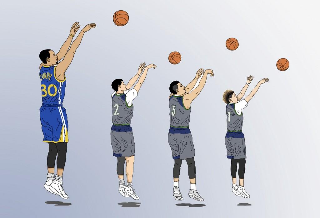 Os irmãos Ball (sério) tentam seguir a trilha de Curry. Arte: The Ringer (link acima)
