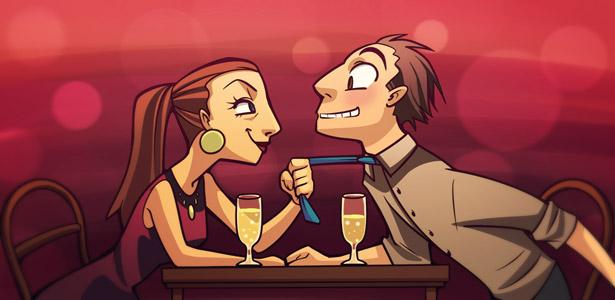 Imagem de um casal e ela o puxando pela gravata