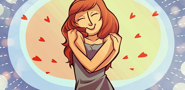 Imagem de mulher sozinha e contente
