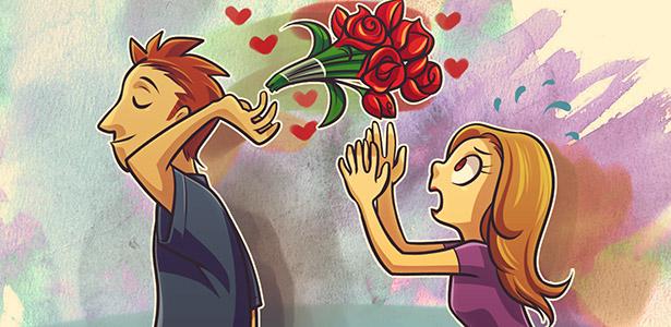 Imagem do namorado jogando flores com desdém