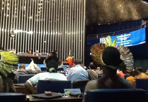 O plenário do Senado foi ocupado ontem por nativos de variadas etnias. Foto do blog