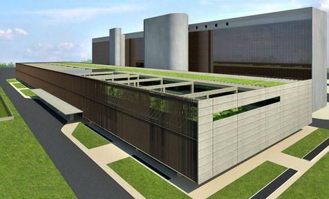 A perspectiva dos dois futuros anexos da Câmara: a galeria de dois andares e o anexo V, de mais gabinetes.