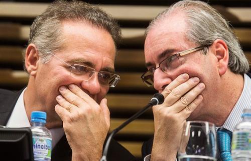 Renan e Cunha - o senador quer melar os acordos de partidos com setores do mercado. Foto: Folha/UOL