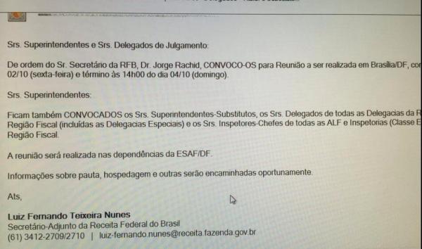 Reprodução do e-mail enviado pelo sub de Rachid para os delegados e superintendentes.