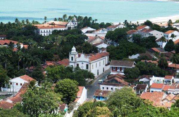 Vista aérea de parte da região histórica de Olinda