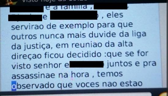 Parte da mensagem recebida pelo padre Stepien no Whatsapp. Mensagens já estão com a polícia do Rio. Foto : Reprodução de tela de celular