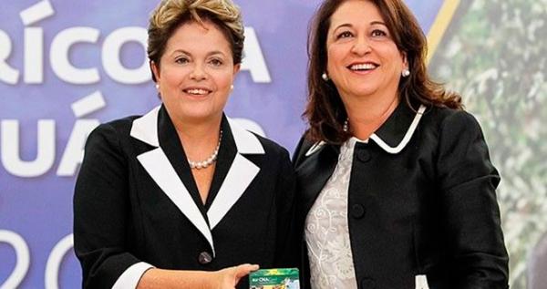 Dilma, ainda presidente, com Kátia no Planalto, nos tempos de Poder. Foto: PDT