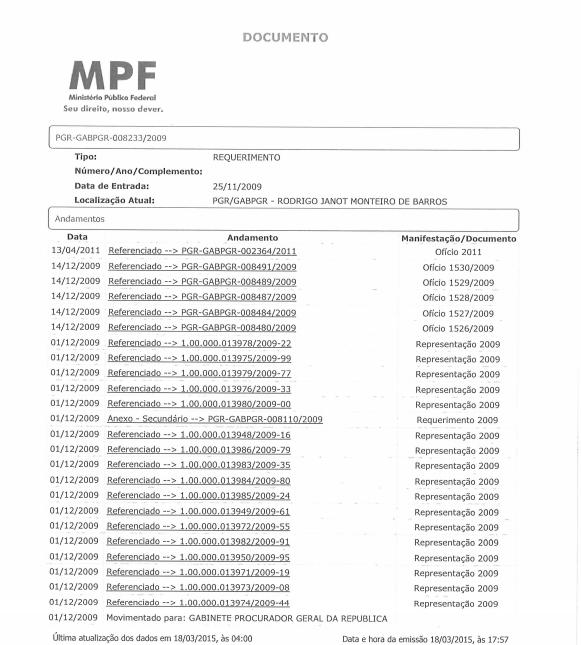 A tramitação do pedido de investigação na PGR, de 2009 até 2011