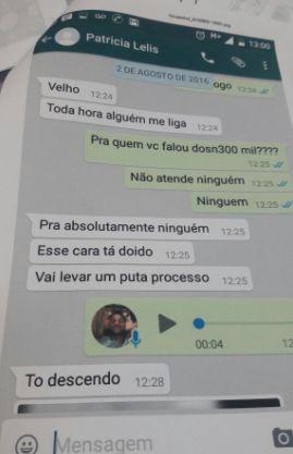 Prints das conversas de whatsapp atribuídas a Patrícia