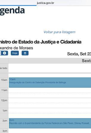 O 'print' da agenda do ministro no site. Encontro com delegados às 14h
