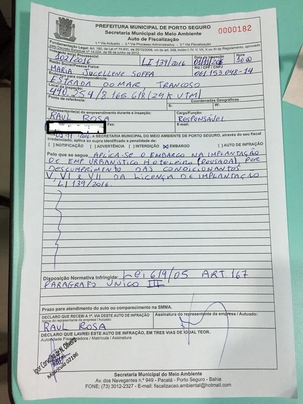 O ofício de notificação do embargo da prefeitura