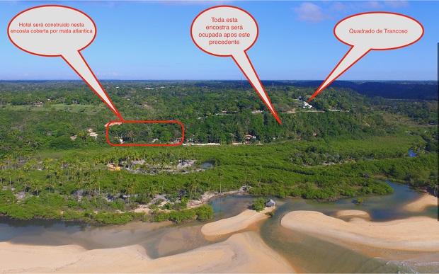 Vista aérea, da faixa litorânea, com montagem feita pelos moradores indicando os locais.