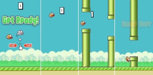 """Ciclo de vida do protagonista em """"Flappy Bird"""". Essa pontuação foi basicamente tudo que eu consegui no jogo"""