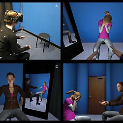 Virtual environment used in the experiment: (A) suit and and head-mounted display; (B) view of child avatar when embodied in adult avatar; (C) view of adult avatar when embodied in the child avatar (1st person perspective); (D) external view of child and adult avatars (3rd person perspective).
