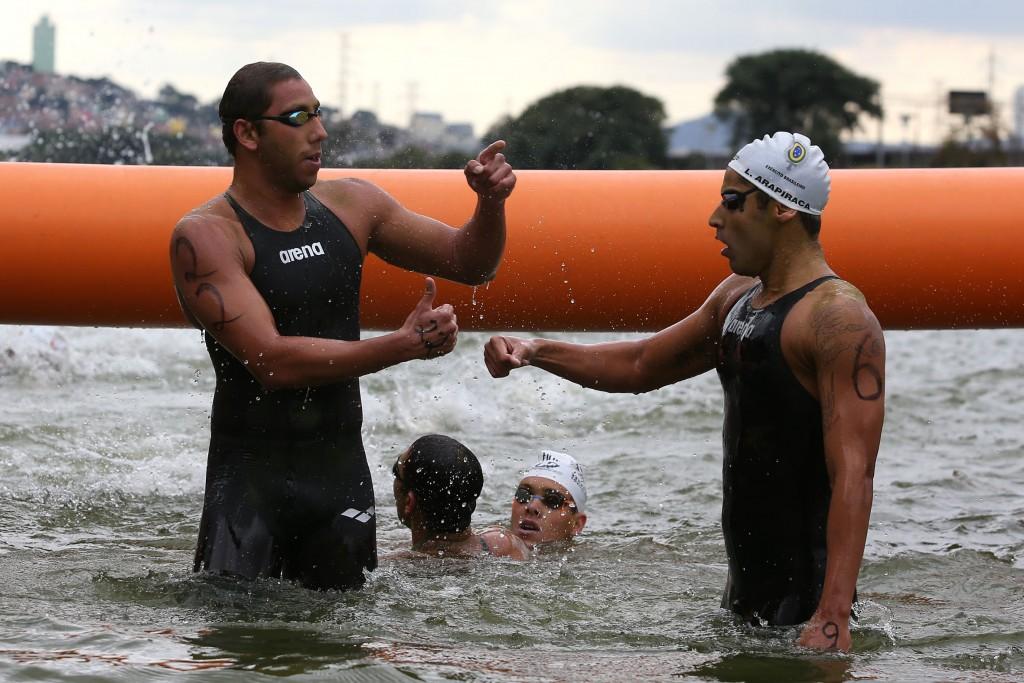 Samuel de Bona, Carlos Rogerio Arapicara. 54¼ Trofeu Maria Lenk de Maratonas Aquaticas na raia Olimpica da USP. 26 de abril de 2014, Sao Paulo, SP, Brasil. Foto: Satiro Sodre/SSPress