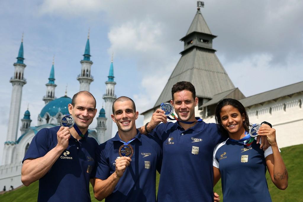 Nicholas, Fratus, Thiago e Etiene, os medalhistas em Kazan - Fotos: Satiro Sodré/SS Press