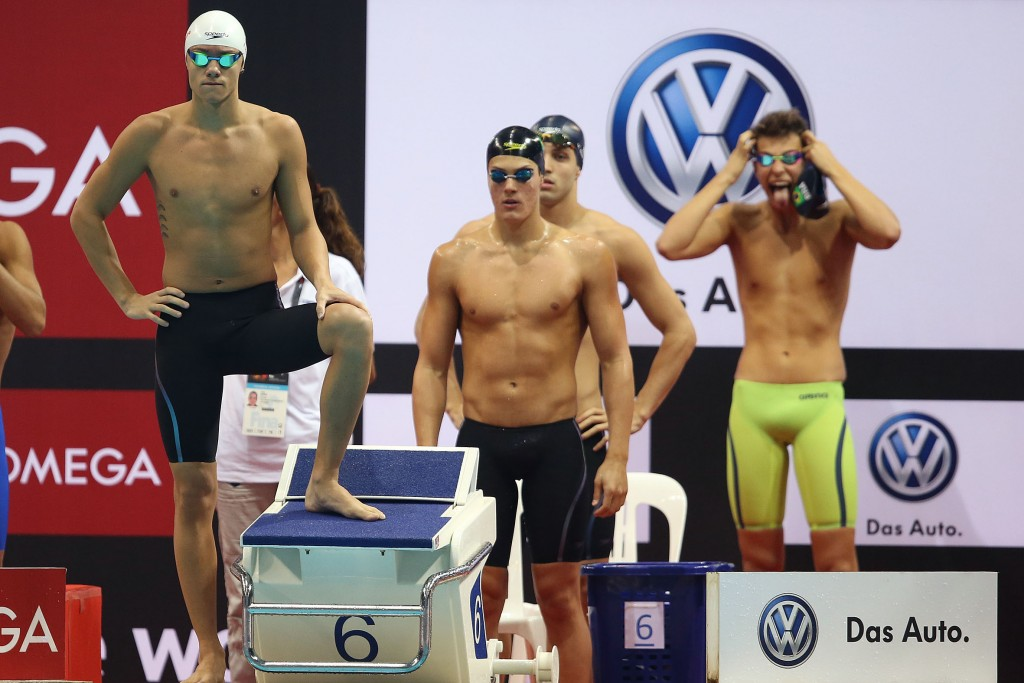 O 4x100m livre em Cingapura foi 4º colocado - Foto: Satiro Sodre/SSPress