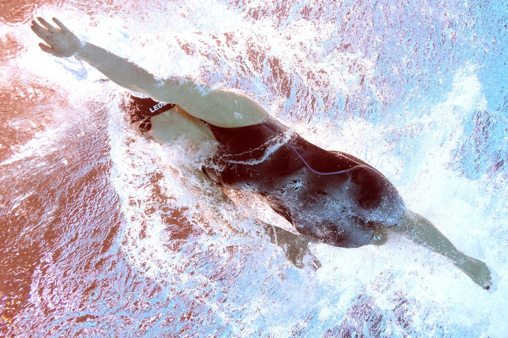 PICTURE TAKEN WITH AN UNDERWATER CAMERA -  US Katie Ledecky competes in the women's 400m freestyle final swimming event at the 2015 FINA World Championships in Kazan on August 2, 2015.  AFP PHOTO / FRANCOIS XAVIER MARITFRANCOIS XAVIER MARIT/AFP/Getty Images