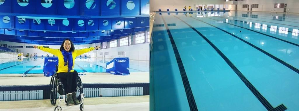 A nadadora paralímpica Edênia Garcia e a nova piscina do CT paralímpico – Foto: Divulgação