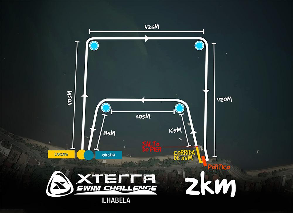 Mapa do percurso da prova de 2 km do XTerra - Foto: Reprodução