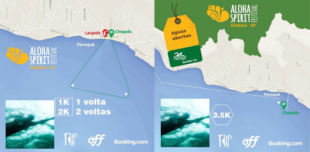 Mapa do percurso das provas do Aloha Spirit - Foto: Reprodução